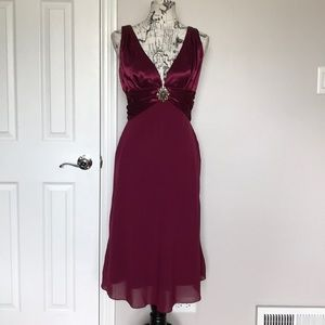 Satin Chiffon Sheer Pin Cocktail Party Fit Flare M
